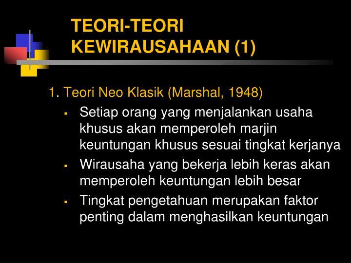 TEORI-TEORI KEWIRAUSAHAAN (1)
