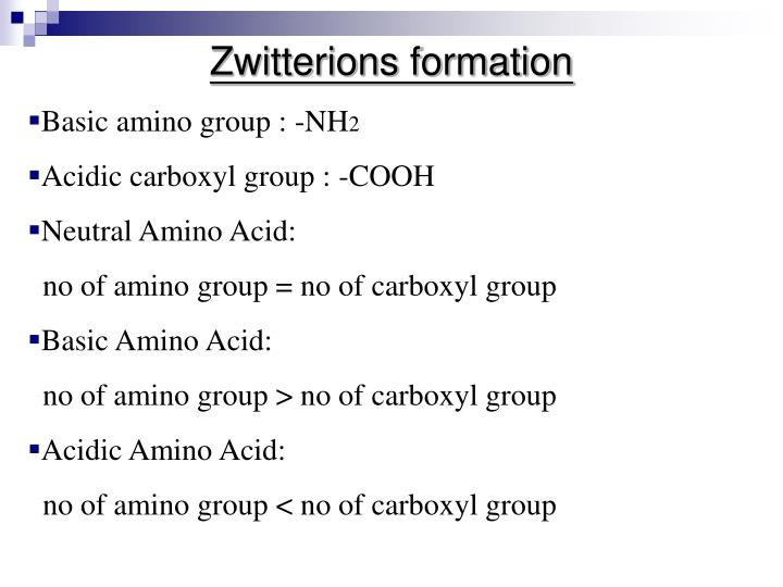Zwitterions formation