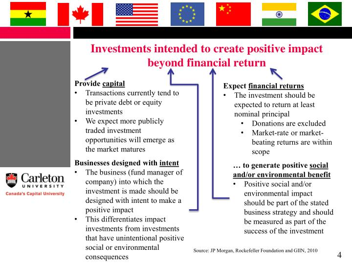 Investments intended to create positive impact