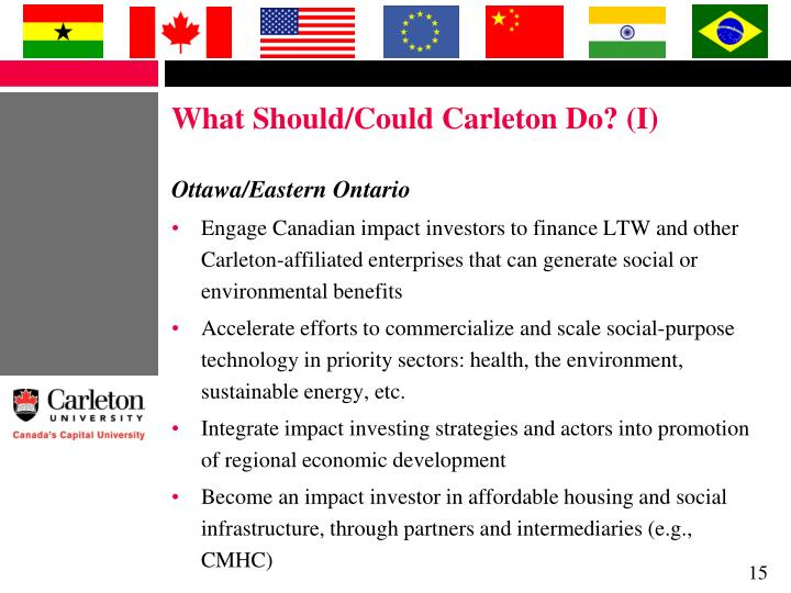 What Should/Could Carleton Do? (I)