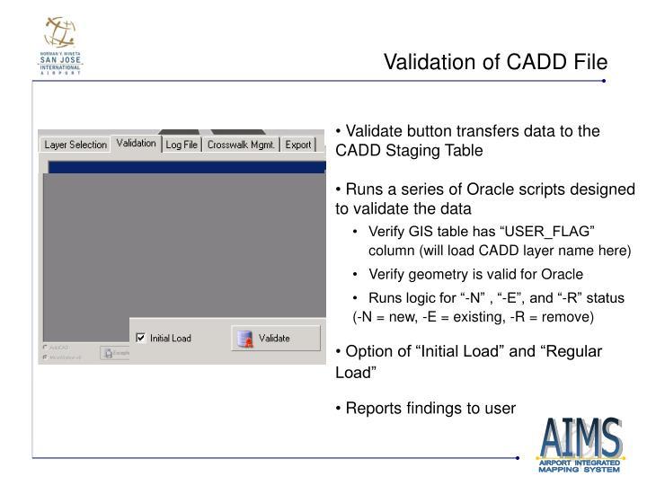 Validation of CADD File