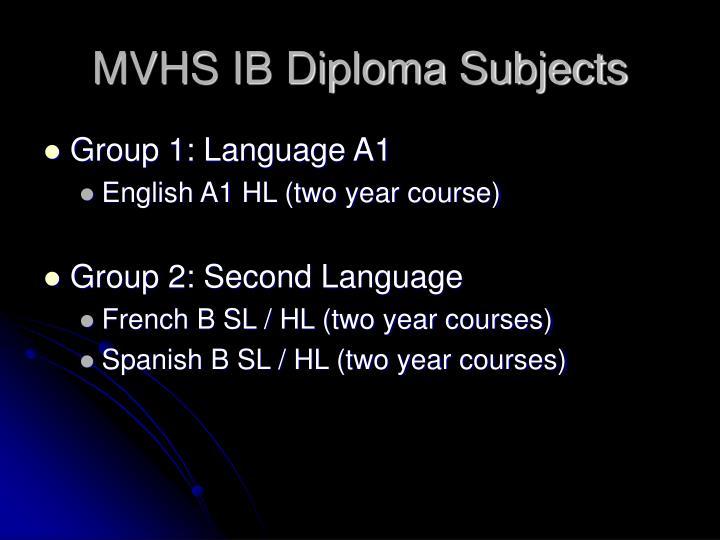 MVHS IB Diploma Subjects