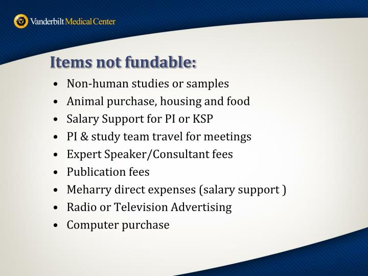 Items not fundable: