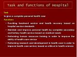 task and functions of hospital