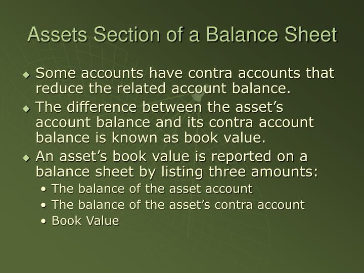Assets section of a balance sheet