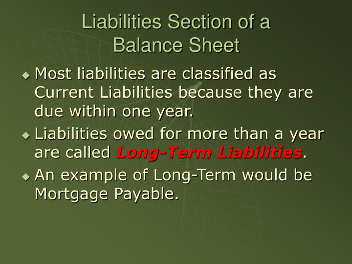 Liabilities Section of a