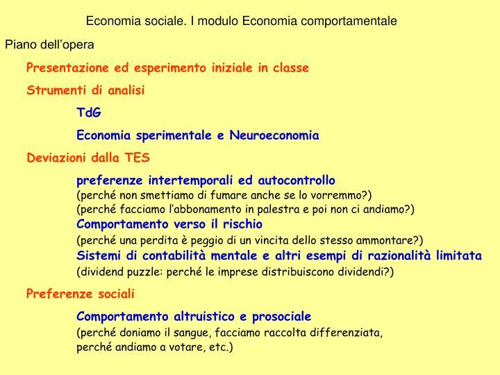 Economia sociale. I modulo Economia comportamentale