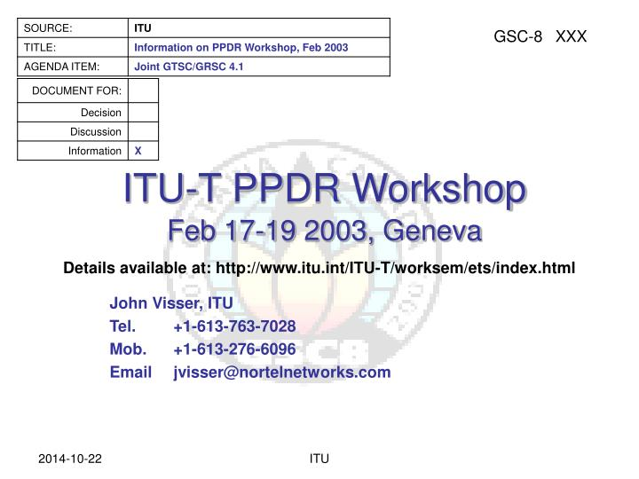 itu t ppdr workshop n.