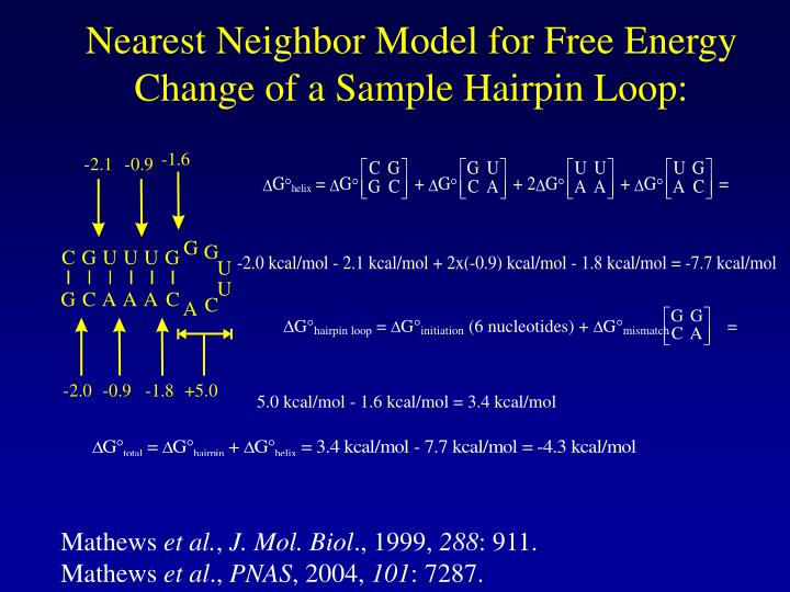 Nearest Neighbor Model for Free Energy Change of a Sample Hairpin Loop: