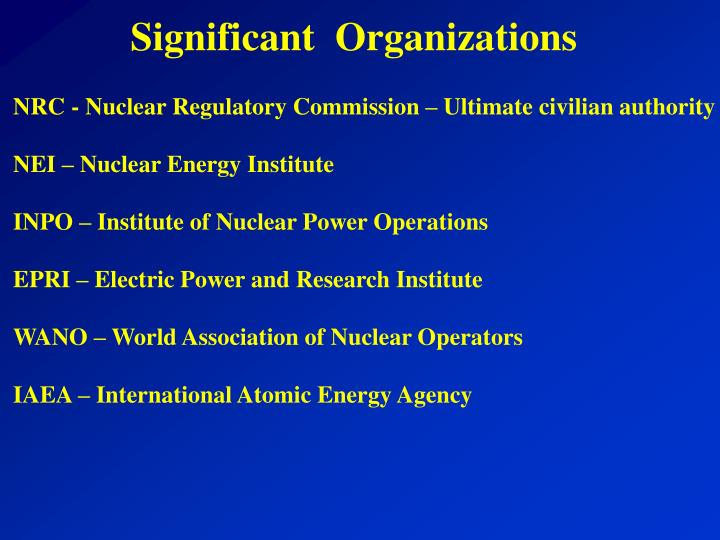 Significant  Organizations