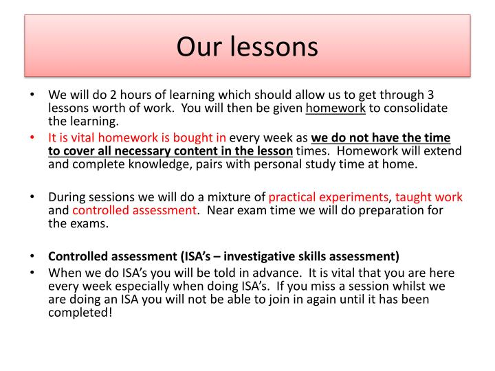 Our lessons