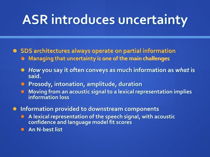 ASR introduces uncertainty
