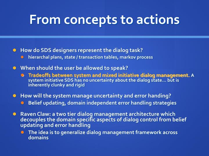 From concepts to actions