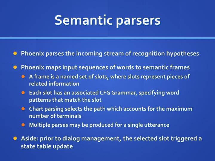 Semantic parsers