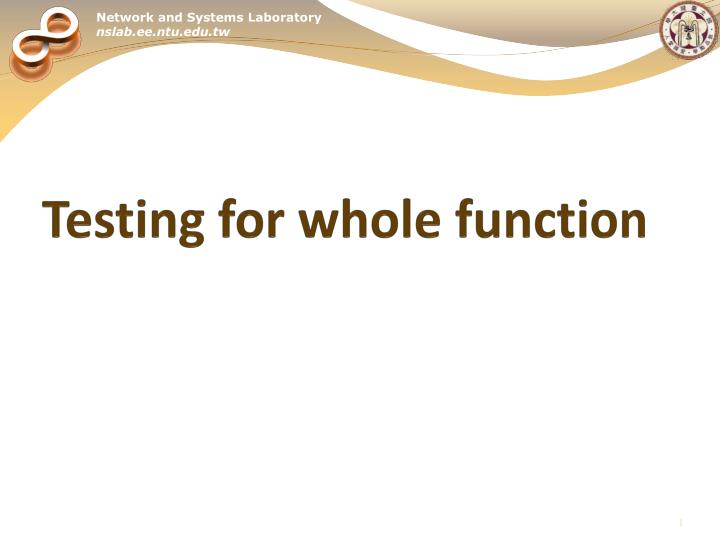 Testing for whole function