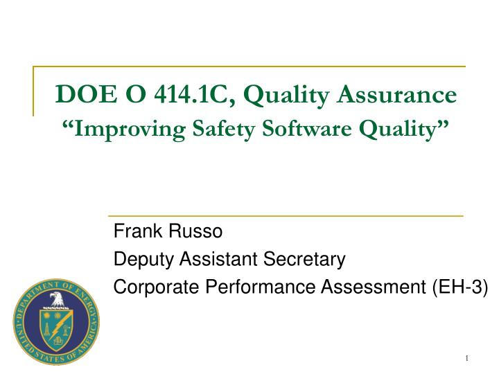 doe o 414 1c quality assurance improving safety software quality n.