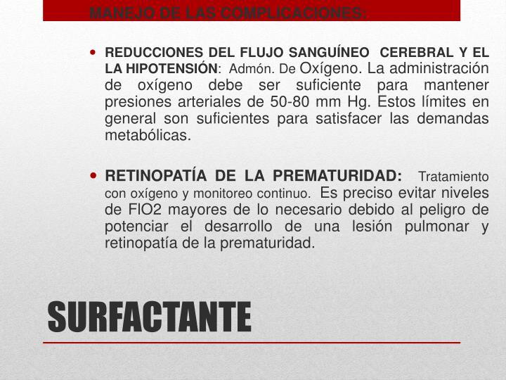 MANEJO DE LAS COMPLICACIONES: