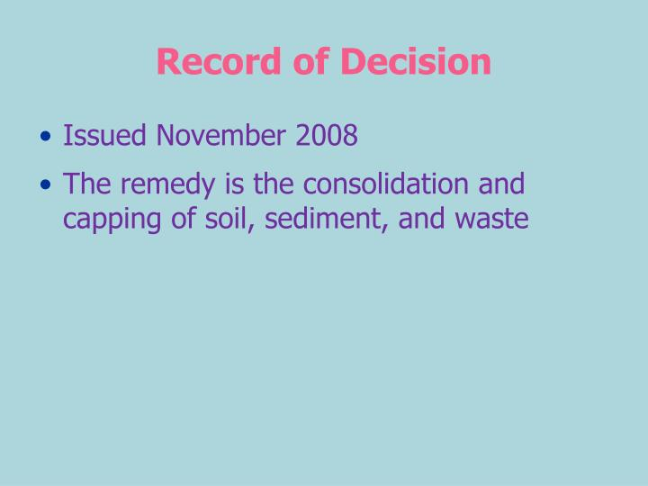 Record of Decision