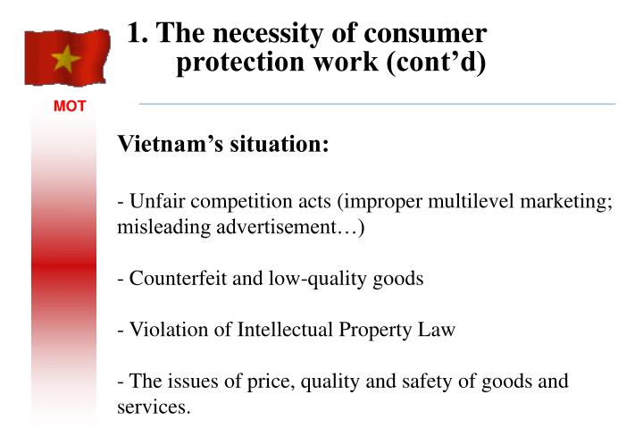 1. The necessity of consumer protection work (cont'd)