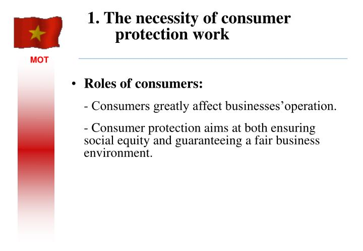 1 the necessity of consumer protection work