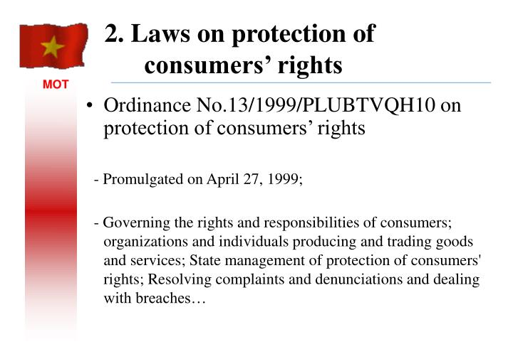 Ordinance No.13/1999/PLUBTVQH10 on protection of consumers' rights