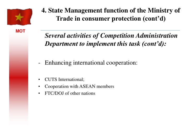 Several activities of Competition Administration Department to implement this task (cont'd):