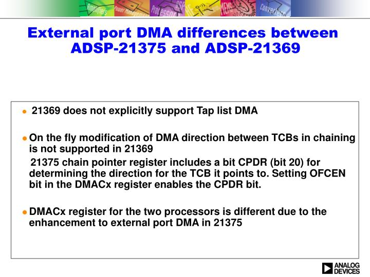 External port DMA differences between