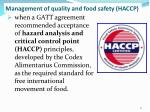 management of quality and food safety haccp