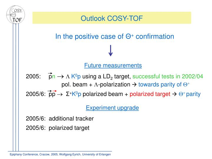 Outlook COSY-TOF
