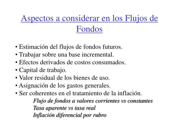 Aspectos a considerar en los Flujos de Fondos