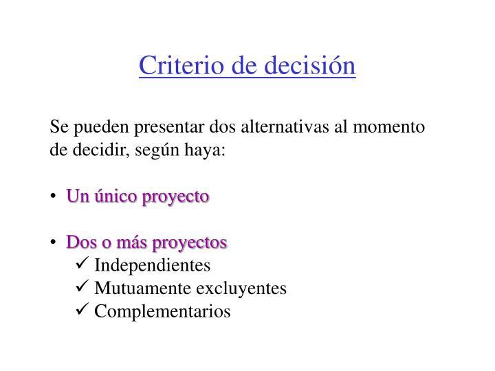 Criterio de decisi n