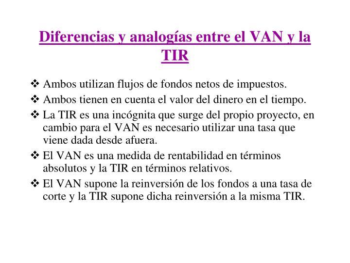 Diferencias y analogías entre el VAN y la TIR