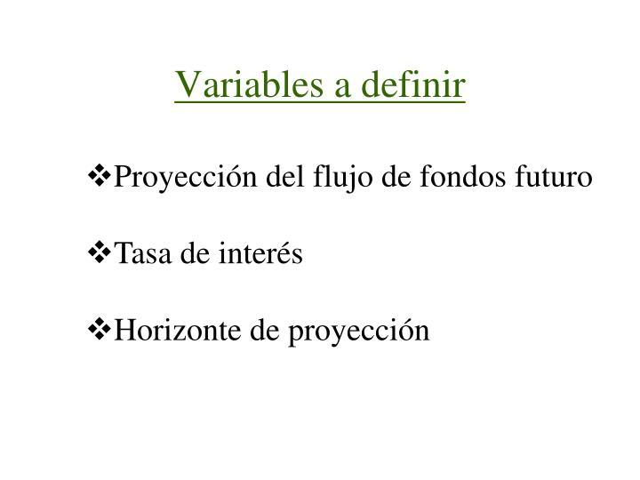 Variables a definir