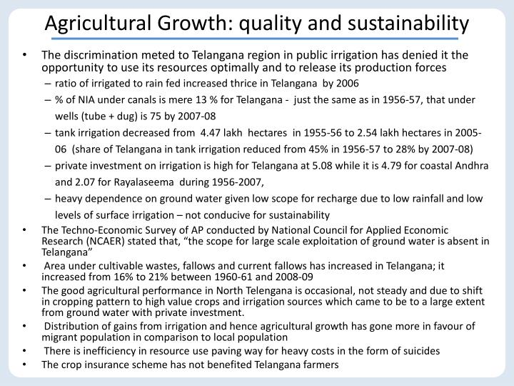 Agricultural Growth: quality and sustainability