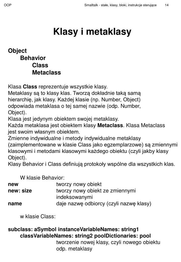 Klasy i metaklasy
