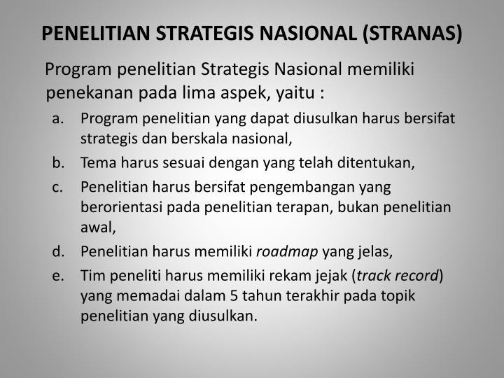 PENELITIAN STRATEGIS NASIONAL
