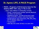 st agnes life a pace program
