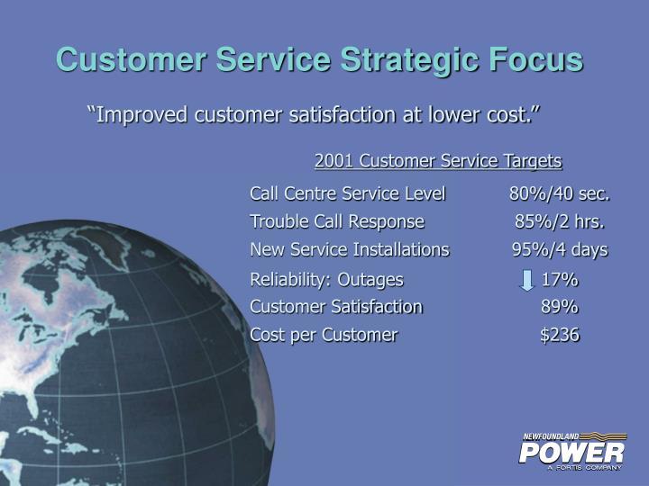 2001 Customer Service Targets