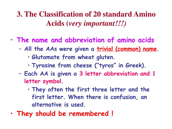 Ppt lecture 1 powerpoint presentation id5717619 3 the classification of 20 standard amino acids very important thecheapjerseys Gallery