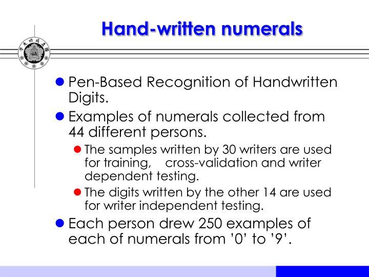 Hand-written numerals