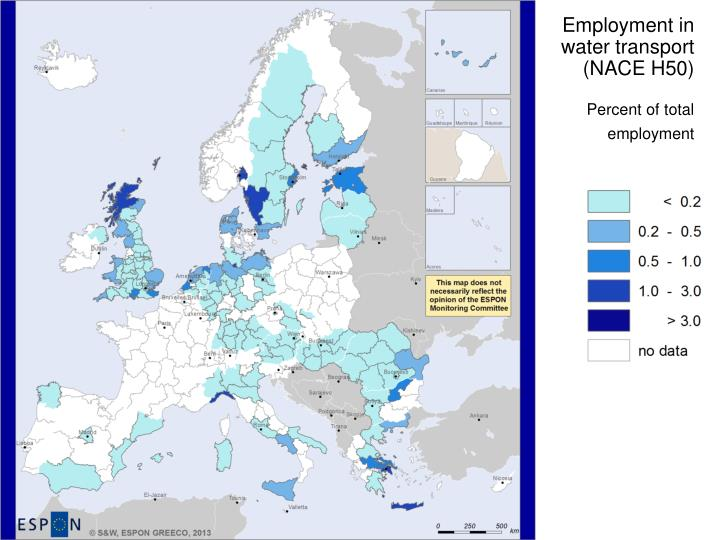 Employment in water transport (NACE H50)