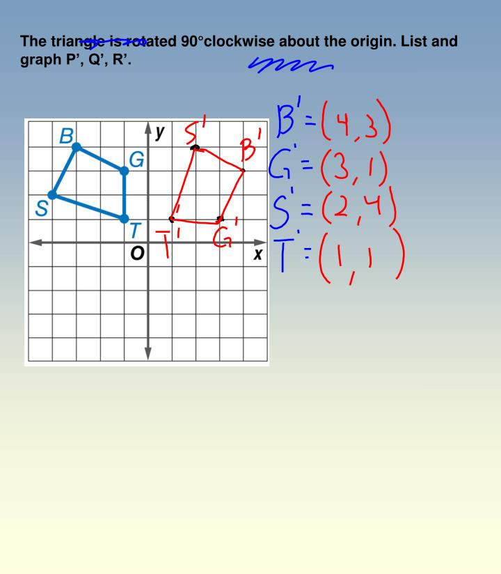 The triangle is rotated 90°clockwise about the origin. List and graph P', Q', R'.