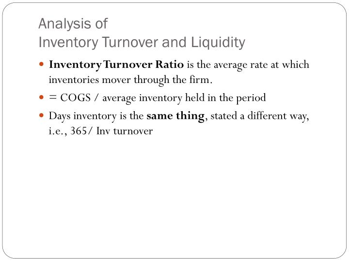 taking a look at inventory turnover Inventory turnover inventory turnover is a measure of how efficiently a company turns its inventory into sales it is calculated by taking the cost of goods sold and dividing it by inventory.