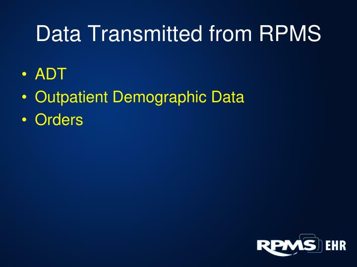 Data Transmitted from RPMS