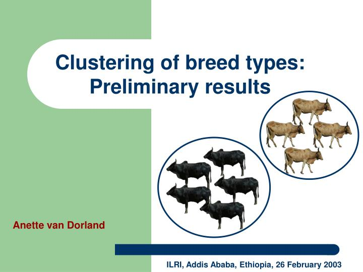 clustering of breed types preliminary results n.