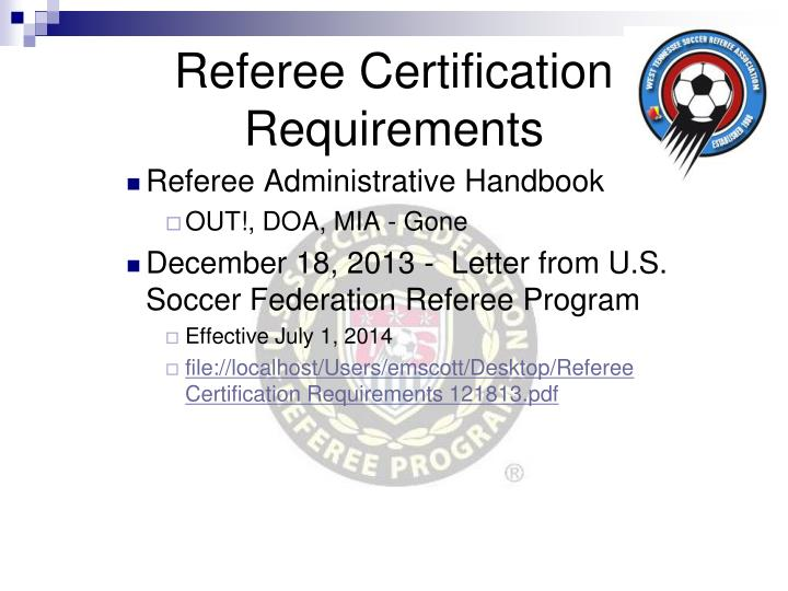 Referee Certification Requirements