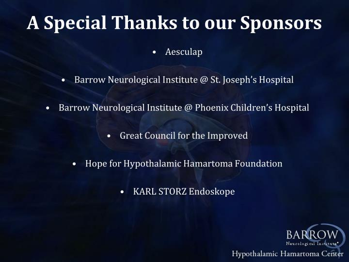 A Special Thanks to our Sponsors