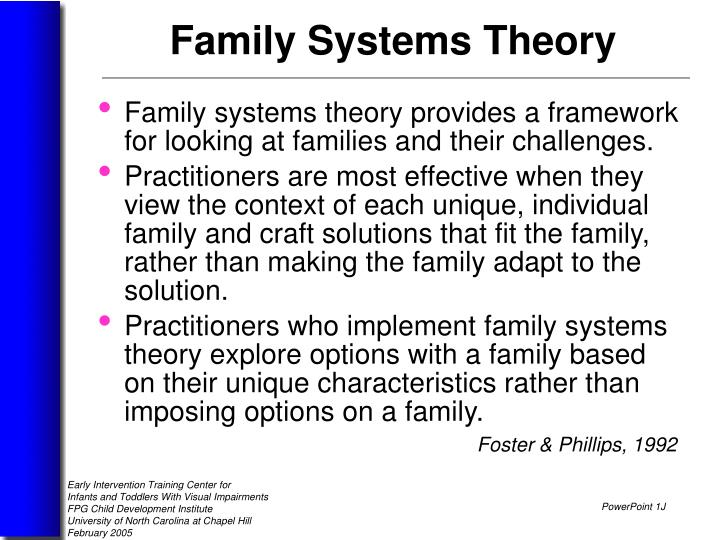 Family systems theory provides a framework for looking at families and their challenges.
