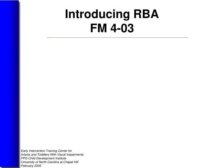 Introducing RBA
