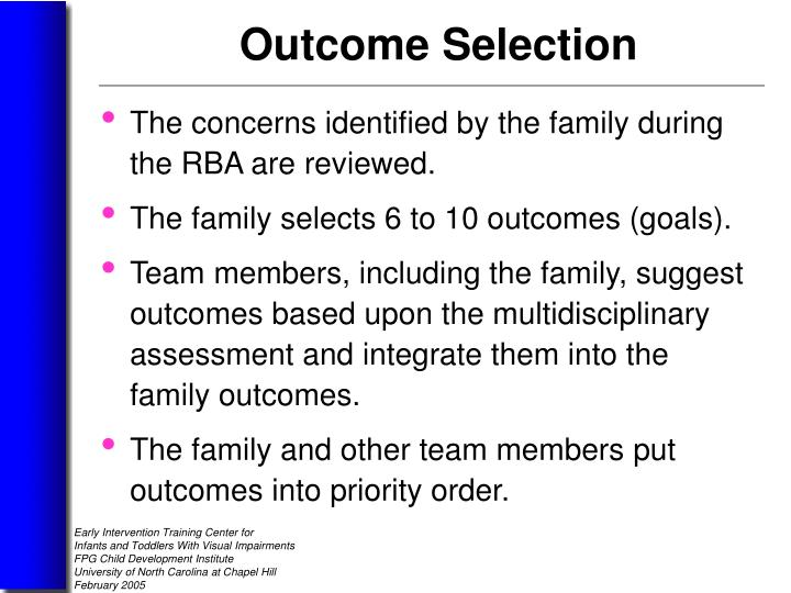 The concerns identified by the family during the RBA are reviewed.